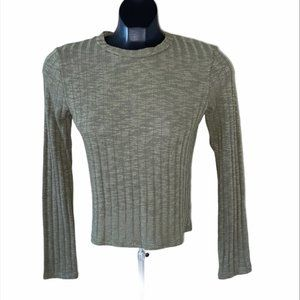 NWT Antistar Green Ribbed Crop Knit Sweater M